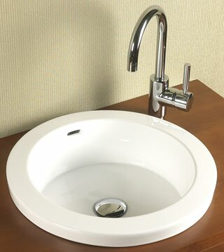 Ronbow Round Ceramic Circular Drop In Bathroom Sink With Overflow