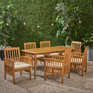 Figgs Patio 7 Piece Dining Set with Cushions