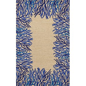 Bluford Cobalt Coral Border Blue/Beige Outdoor Area Rug