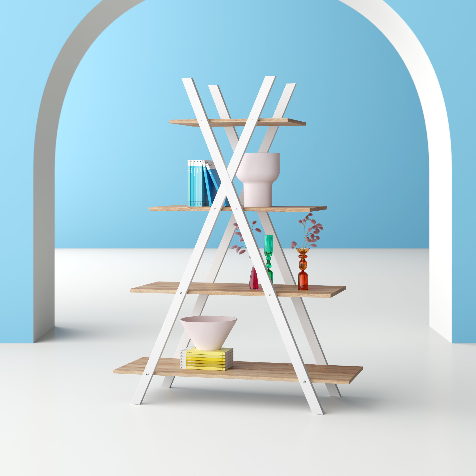Thielen 4 Tier Ladder Bookcase