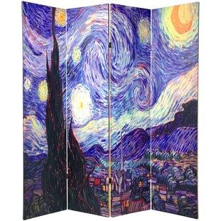 Wellston Van Gogh 4 Panel Room Divider by Charlton Home