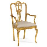 Solid Wood Queen Anne Back Arm Chair by Jonathan Charles Fine Furniture