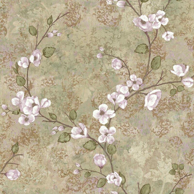 "Charlotte 33' x 20.5"" Dogwood Floral Wallpaper Roll"
