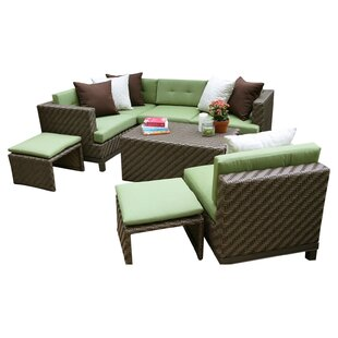 Hampton 8 Piece Sunbrella Sectional Set With Cushions