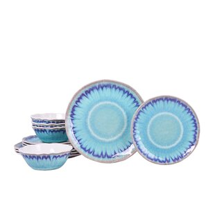 Sea Splash 12 Piece Melamine Dinnerware Set, Service for 4