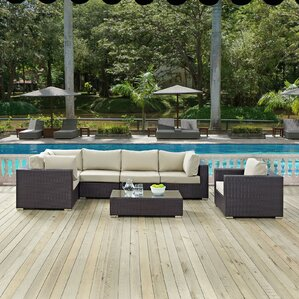 Ryele Outdoor 7 Piece Patio Seating Group With Sunbrella Cushions