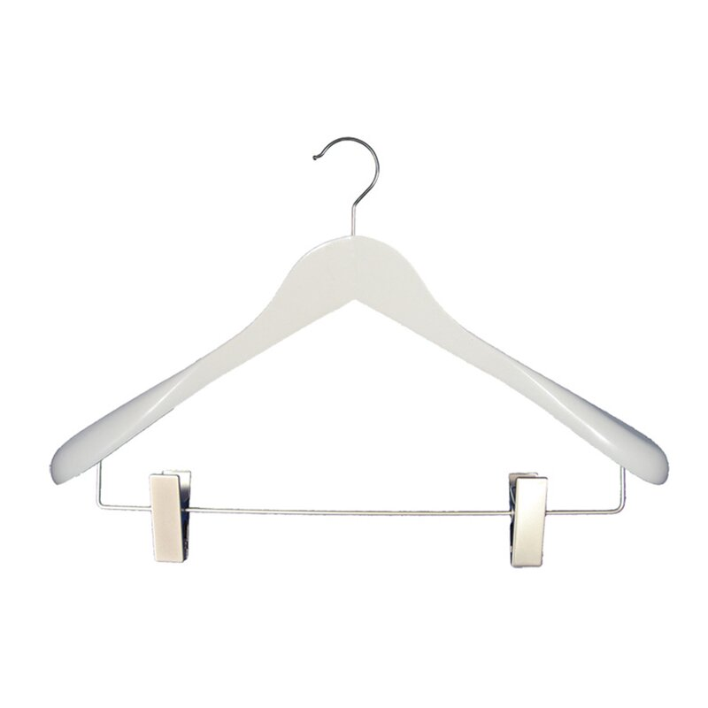 12 Pack Wood Hangers Pants Suit Hanger with Locking Bar Wooden Hangers Cherry for Clothes Tidy Living