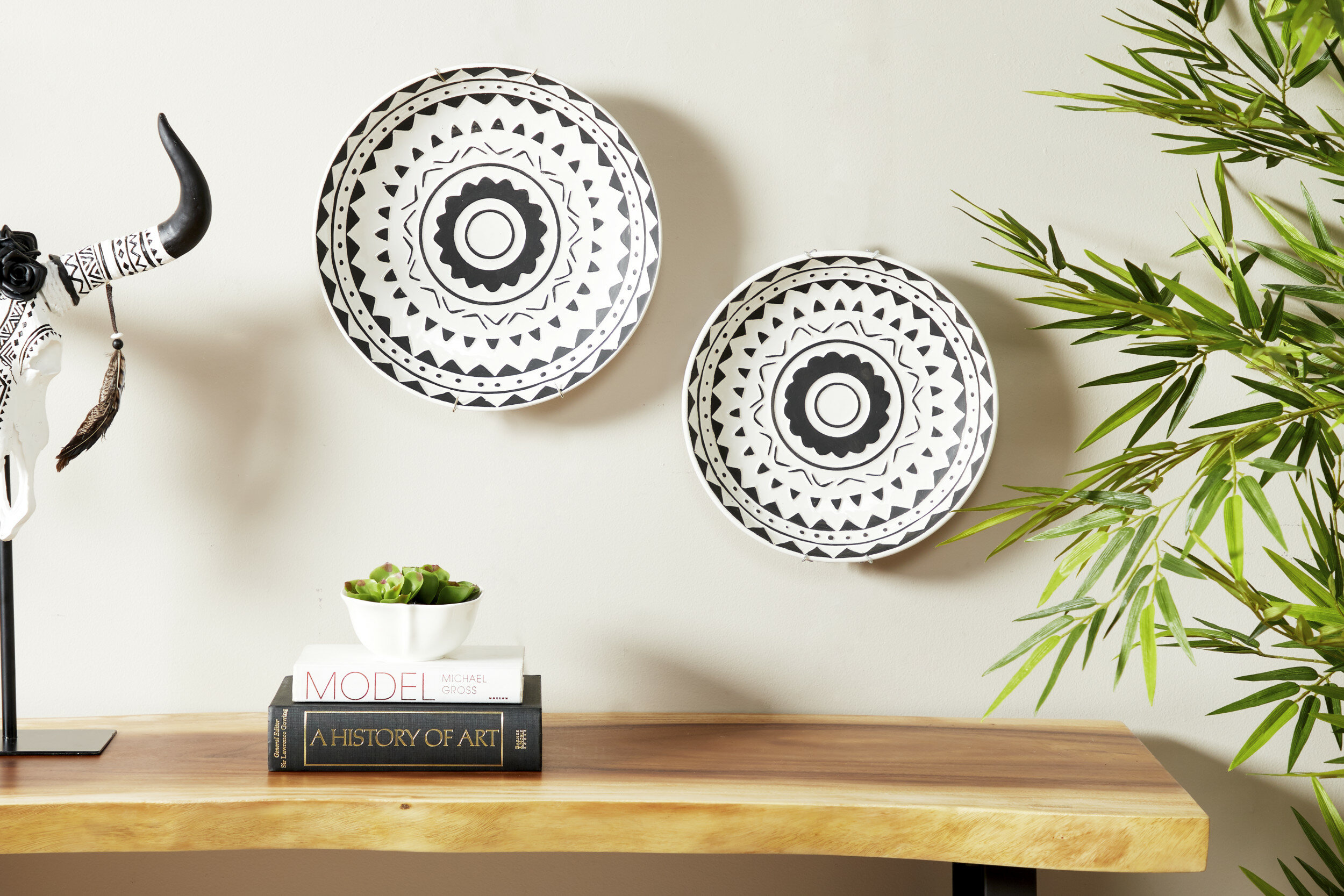 Bungalow Rose 2 Piece Round Ceramic Wall Decor Set Wayfair