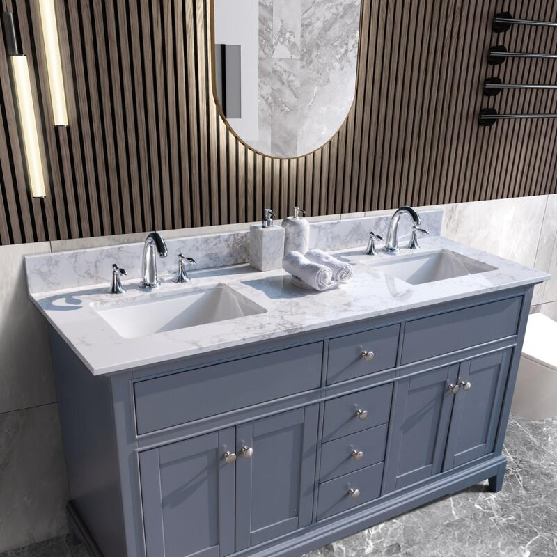 Funadd 25 59 Single Bathroom Vanity Top In Carrara White With Sink Wayfair