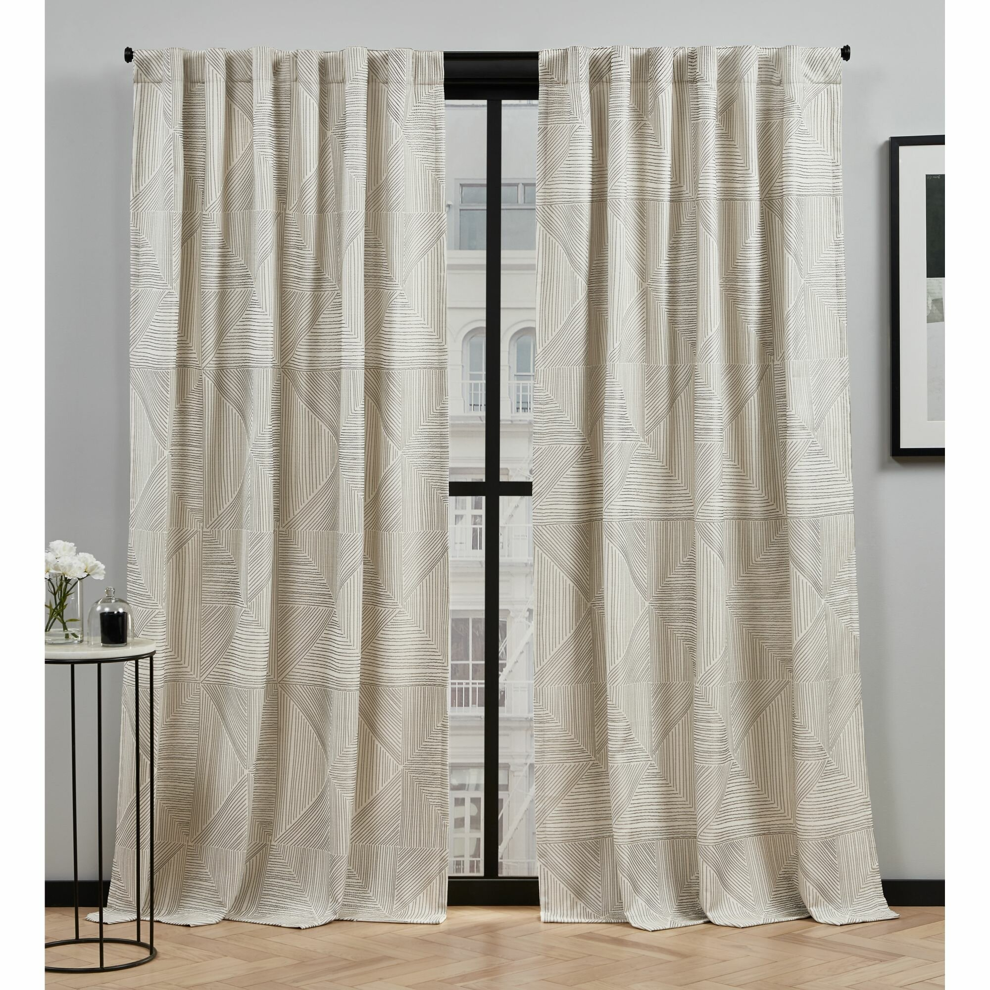 Mudd Geometric Semi Sheer Rod Pocket Curtain Panels Reviews Allmodern