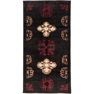 Best Deals One-of-a-Kind Nash Hand-Knotted  4'10 x 9'6 Wool Black Area Rug By Isabelline