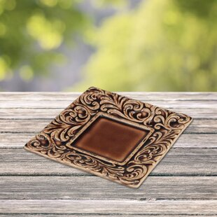 Coulson Tooled Leather Square Decorative Plate & Square Decorative Plates | Wayfair