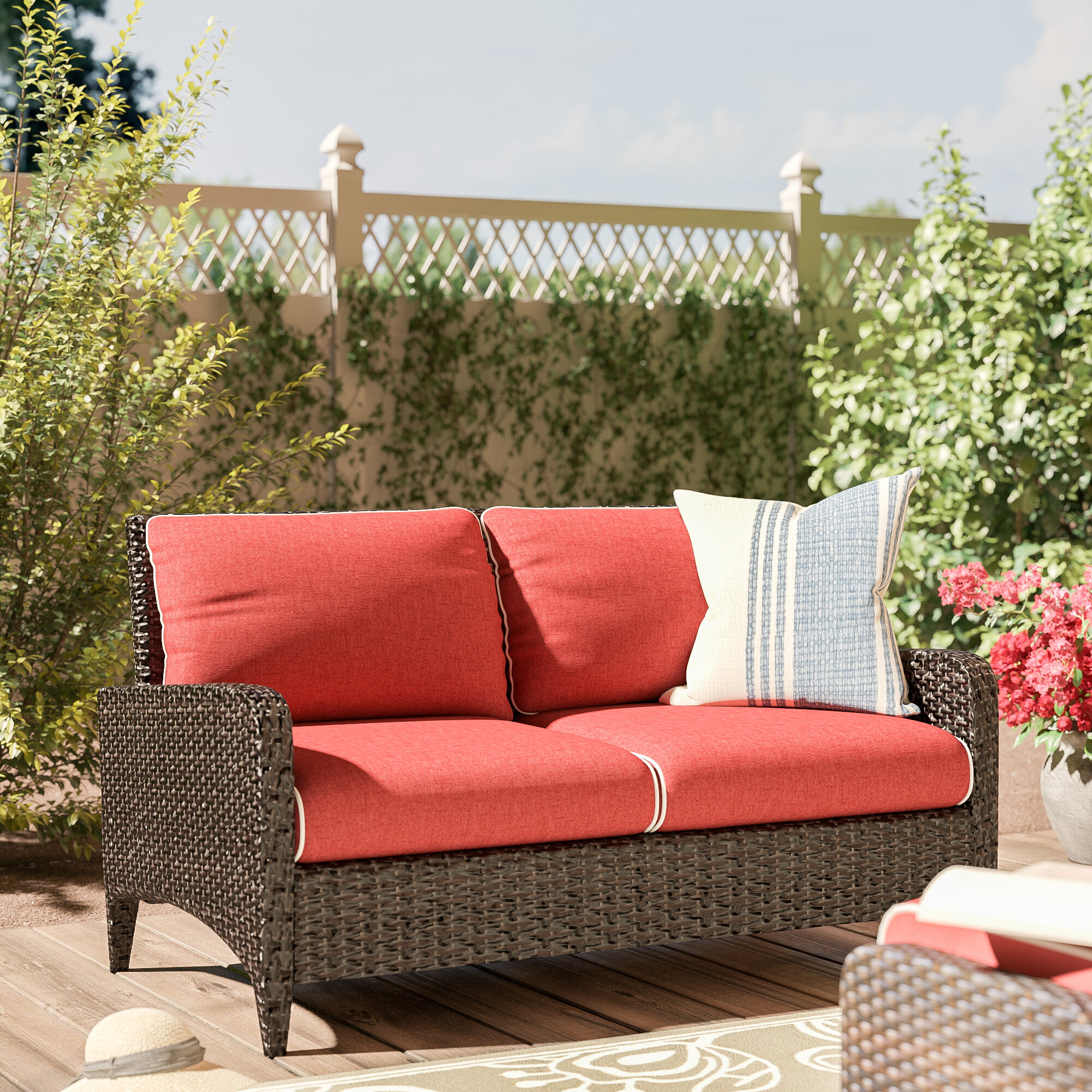 Outstanding World Menagerie Mosca Patio Loveseat With Cushions Reviews Uwap Interior Chair Design Uwaporg