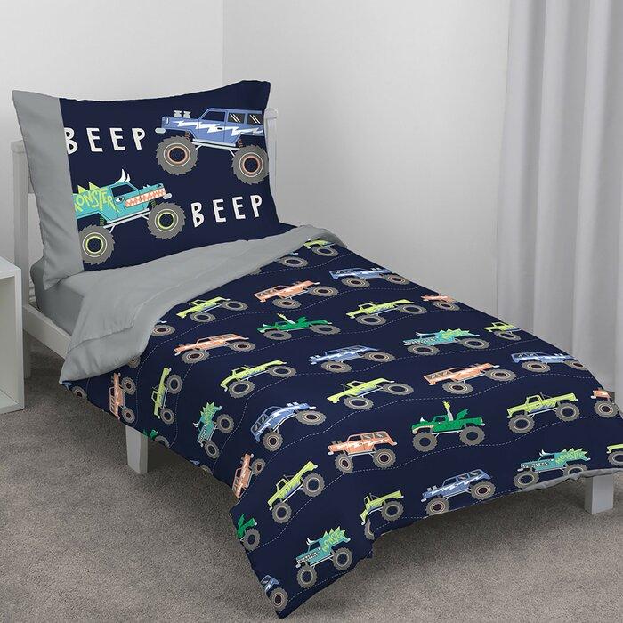 best loved ae212 7f3fb Monster Truck 4 Piece Toddler Bedding Set