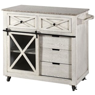Fazio Farmhouse Kitchen Island with Granite Top Gracie Oaks