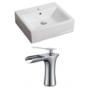 Compare Ceramic 21 Wall-Mount Bathroom Sink with Faucet and Overflow By Royal Purple Bath Kitchen