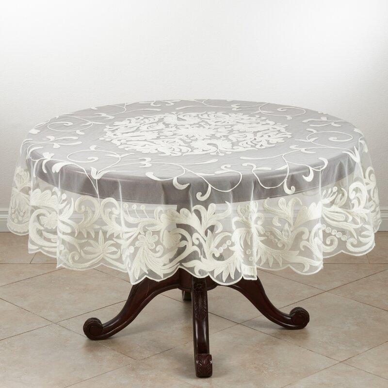 Saro Alessandra Embroidered Tablecloth Reviews Wayfair