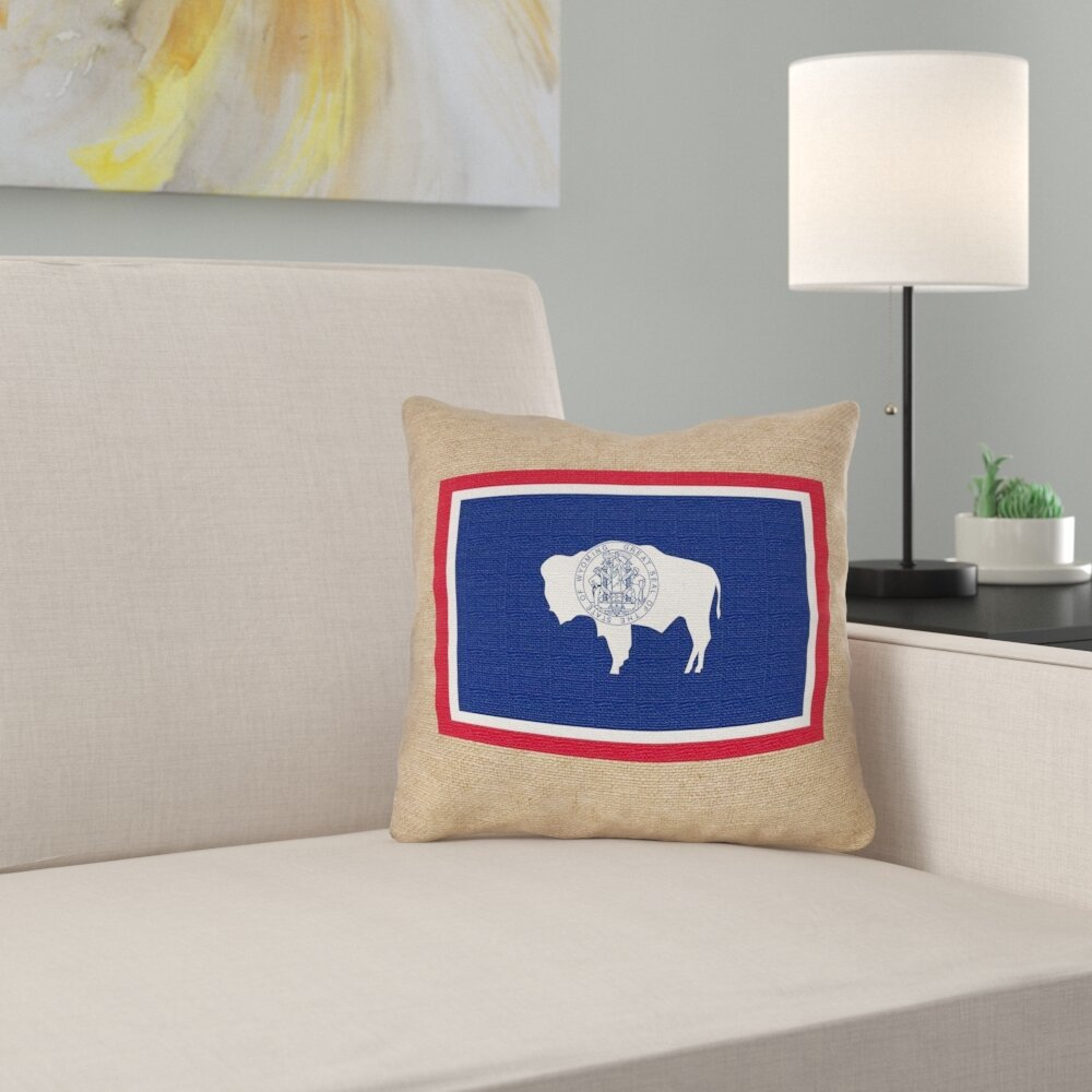 East Urban Home Wyoming State Flag Pillow In Faux Suede Double Sided Print Pillow Cover Wayfair