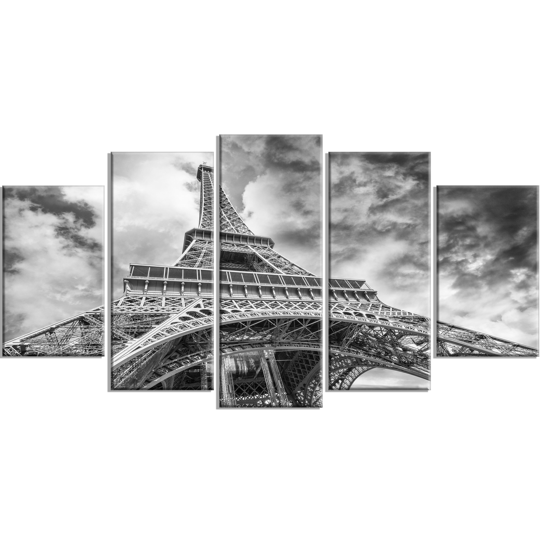 Designart Black And White View Of Paris Eiffel Tower 5 Piece Photographic Print On Wrapped Canvas Set Reviews Wayfair