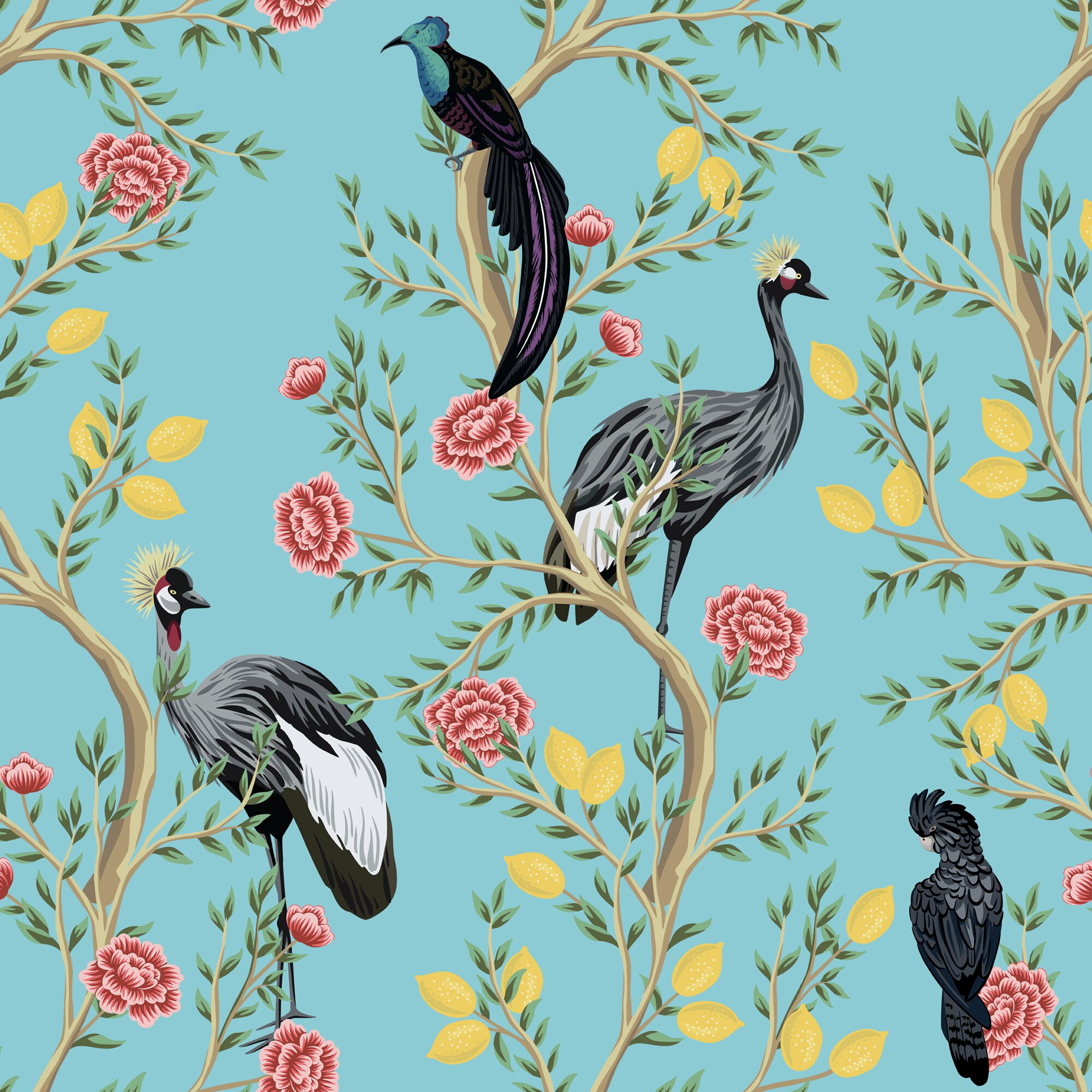 Peel-and-Stick Removable Wallpaper Peacock Exotic Bird Chinoiserie Traditional