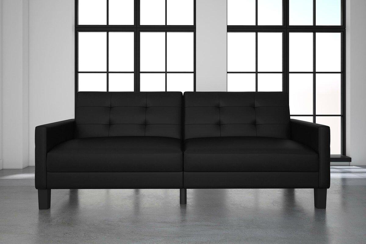 ebern designs anabelle faux leather convertible sofa  reviews  - defaultname