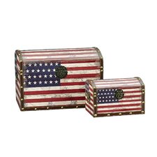 2 Piece American Flag Design Trunk Set by Household Essentials