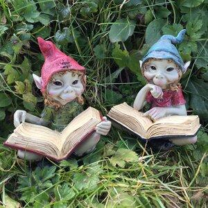 2 Piece Pixie Sat Reading Books Outdoor Garden Statue Set