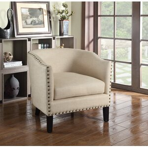 Bunker Hill Natural with Nailheads Barrel Chair by Charlton Home