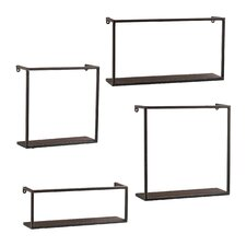4 Piece Zyther Metal Wall Shelf Set