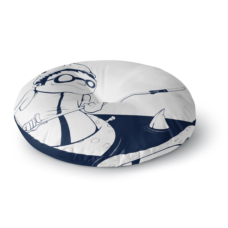 Nautical Floor Pillows : East Urban Home Matthew Reid 5; in Navy Blue Nautical llustration Round Floor Pillow Wayfair.ca