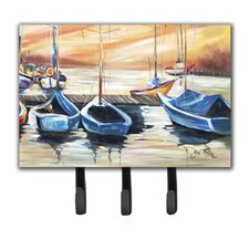 Beach View with Sailboats Leash Holder and Key Hook by Caroline's Treasures