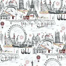 """Black and White 27' x 27"""" Novelty Euro Scenic Wallpaper Roll"""