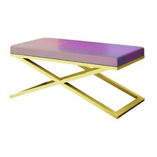 Ahumada X-Base Iridescent Snakeskin Upholstered Bedroom Bench by Everly Quinn