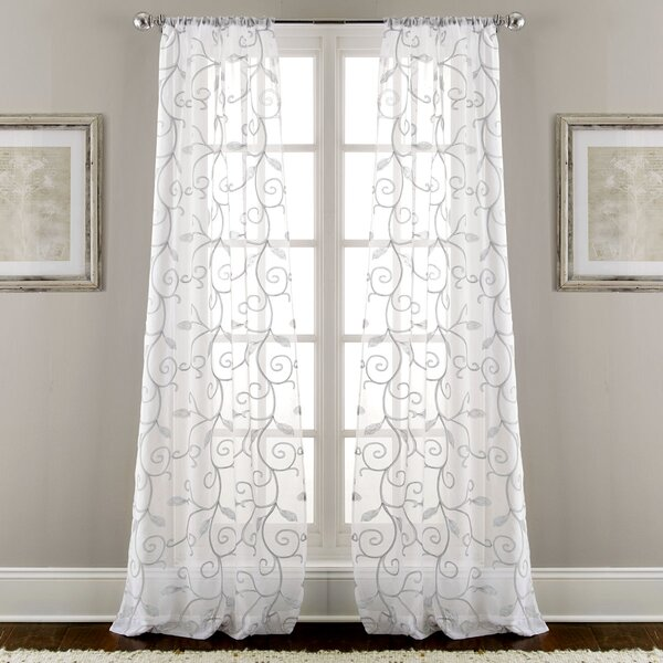 Lindsey Embroidered Nature/Floral Semi-Sheer Rod Pocket Curtain Panels