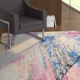 Ivy Bronx Emerie Abstract Hand Tufted Blue Beige Area Rug Reviews Wayfair