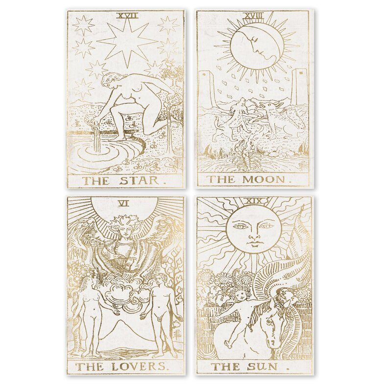 Bloomsbury Market Tarot Cards 4 Piece Graphic Art Print Set On Canvas Reviews Wayfair