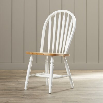 Audette Windsor Arrowback Solid Wood Dining Chair August Grove Color: White / Natural