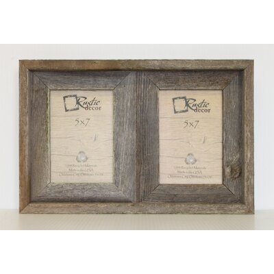 "Barn Wood 2 Opening Picture Frame Rustic Decor Picture Size: 5"" x 7"""