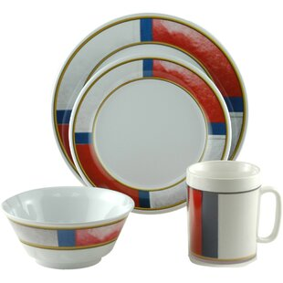 Decorated Life Preserver Melamine 16 Piece Dinnerware Set, Service for 4