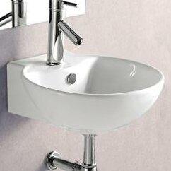 Order Porcelain Ceramic 17 Wall Mount Bathroom Sink with Overflow By Elanti