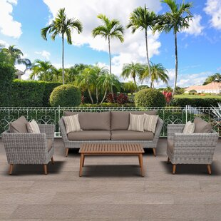Elsmere 4 Piece Rattan Sofa Set with Cushions by Beachcrest Home
