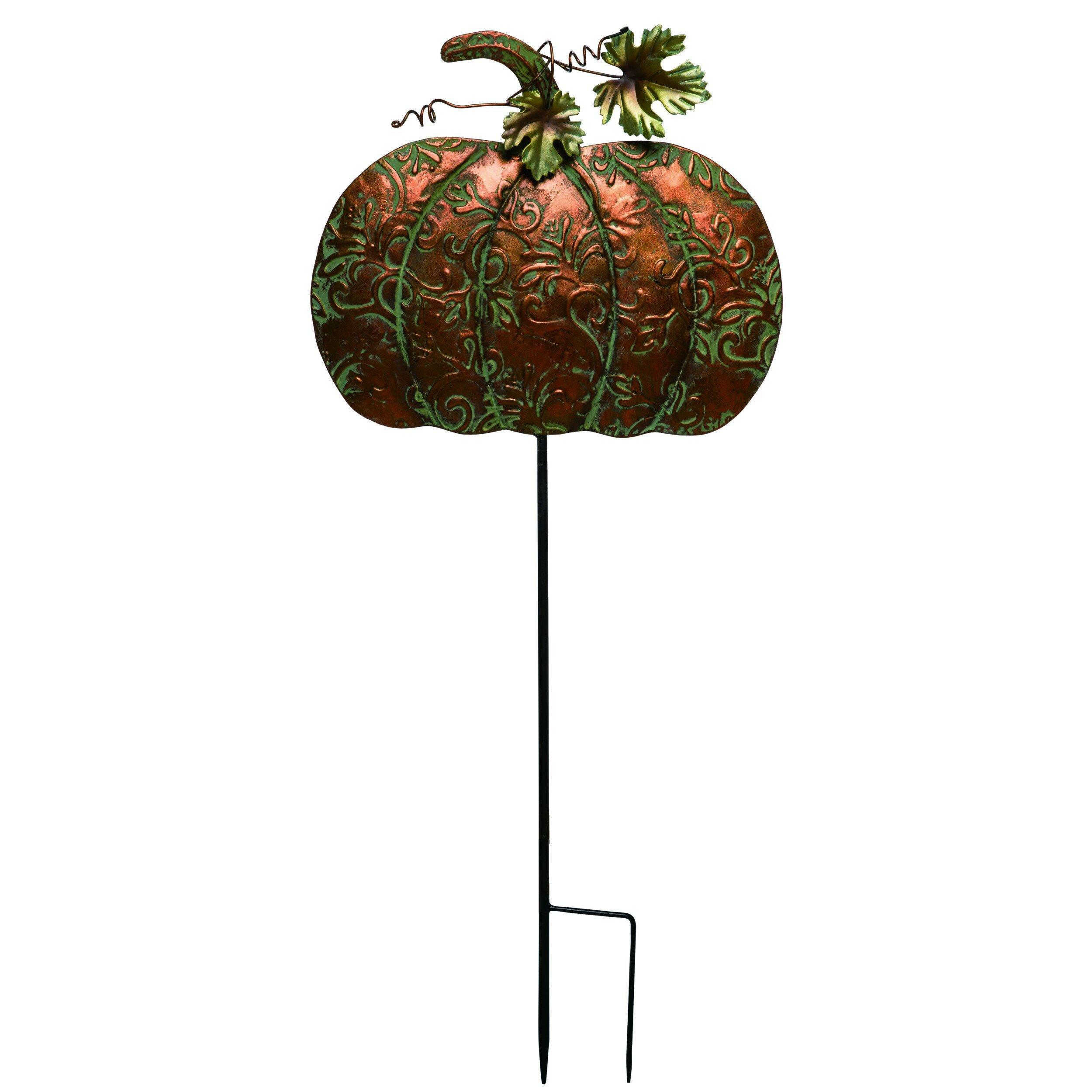 August Grove Ocallaghan Metal Harvest Pumpkin Garden Stake Wayfair