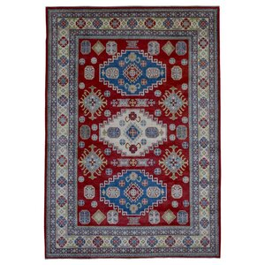 One-of-a-Kind  Roslyn Oriental Hand Woven Red Geometric Area Rug