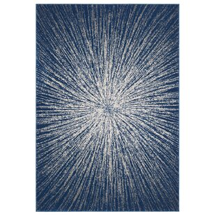 Faustina Navy/Ivory Area Rug by Wrought Studio