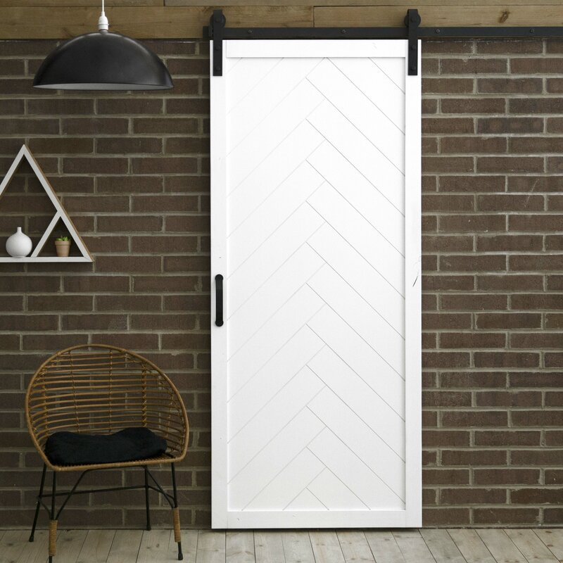 Dogberry Collections Paneled Wood Finish Herringbone Barn Door With Installation Hardware Kit Reviews Wayfair
