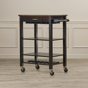 Morgandale Kitchen Cart with Butcher Block Top by Alcott Hill
