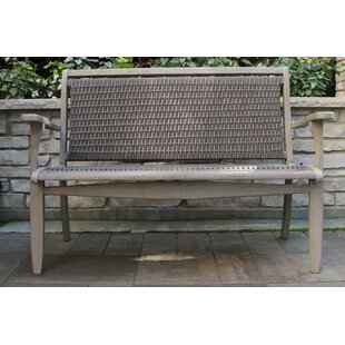 Guisborough Gray Wash Eucalyptus & Driftwood Gray Wicker Bench by Three Posts Sale