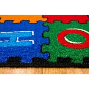abc puzzle bluegreen kids rug
