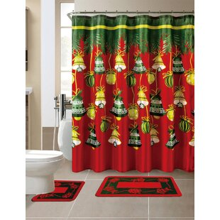Price Check 15 Piece Christmas Shower Curtain Set with 12 Hooks By The Holiday Aisle