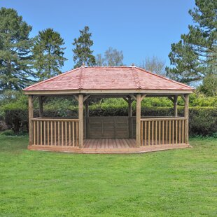 6.3m X 4.9m Wooden Gazebo With Cedar Roof And Benches By Sol 72 Outdoor